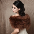 chocolate brown marabou feather bridal wrap, vintage wedding stole